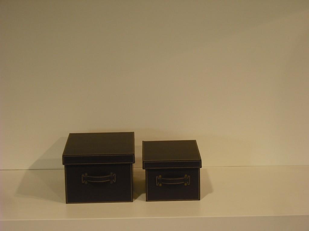 Set 2 scatole pelle marrone 30/35 Oak